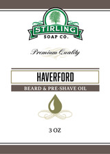 Haverford Natural Beard & Pre-Shave Oil by Stirling Soap Company, 3 oz