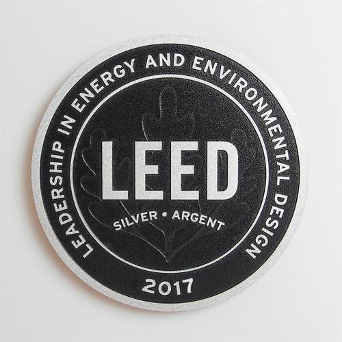 Premium LEED Plaque | Surface Finish: Brushed Aluminum Background Finish: Black