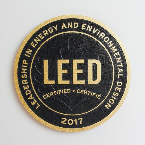 Premium LEED Plaque | Surface Finish: Orbital  +  Background Finish: Black
