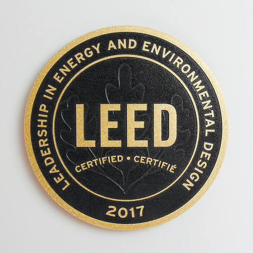 Premium LEED Plaque | Surface Finish: Orbital  +  Background Finish: Black