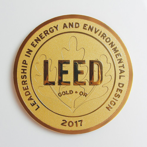 Premium LEED Plaque | Surface Finish: Polished  +  Background Finish: Clear