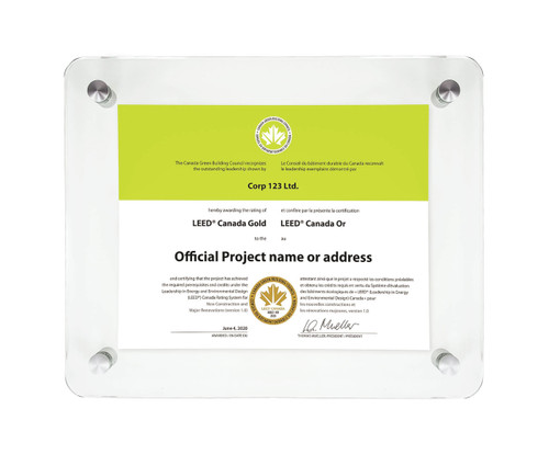 LEED Certificate Glass Display Frame