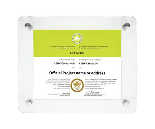 LEED Certificate Glass Display Frame