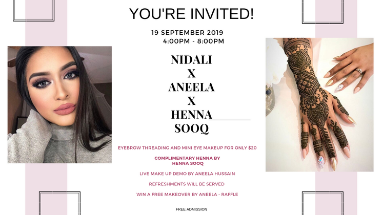 Event! Tonight at Nidali Beauty X Henna Sooq X Aneela MUA