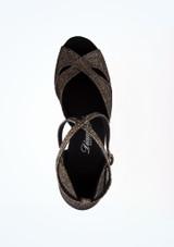 Zapato de baile Shimmer de 6.5 cm Diamant Negro-Oro superior. [Negro-Oro]