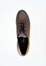 Zapato de baile Shine de 4 cm Diamant Negro-Oro superior. [Negro-Oro]