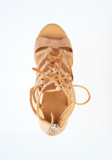 Zapatos de Baile Mera Rummos 7cm Marrón Claro superior. [Marrón Claro]