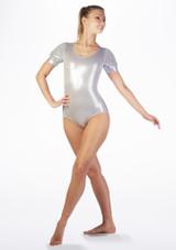 Maillot Ballet Metalico Rosalie Alegra Plata frontal. [Plata]