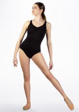 Maillot Ballet Sin Mangas Cruzado en la Espalda So Danca Negro frontal. [Negro]
