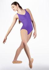 Maillot Ballet Sin Mangas Cruzado en la Espalda So Danca Violeta frontal. [Violeta]