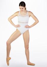 Maillot Ballet sin Mangas con Insercion de Encaje So Danca Blanco frontal. [Blanco]