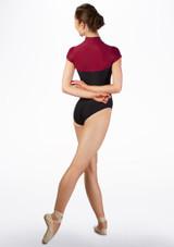 Maillot contraste de manga corta Ballet Rosa Rojo trasera. [Rojo]