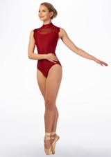 Maillot con encaje Ballet Rosa Rojo trasera. [Rojo]