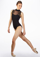 Maillot con encaje Ballet Rosa Negro frontal. [Negro]