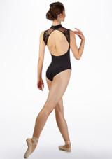 Maillot con encaje Ballet Rosa Negro frontal #2. [Negro]