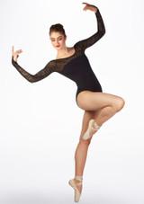 Maillot manga larga con encaje Ballet Rosa Negro frontal. [Negro]