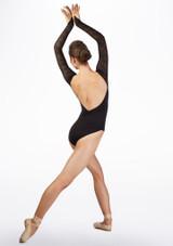 Maillot manga larga con encaje Ballet Rosa Negro trasera. [Negro]