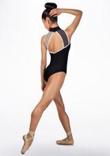 Maillot con gasa de contraste Ballet Rosa Negro trasera. [Negro]