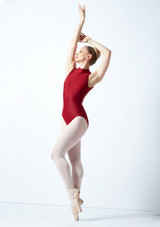 Maillot Ballet con Cuello Alto Ballet Rosa Azul frontal. [Rojo]