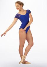 Maillot con manga de encaje Ballet Rosa Azul frontal #2. [Azul]