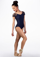 Maillot con manga de encaje Ballet Rosa Azul frontal. [Azul]