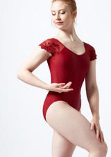 Maillot con manga de encaje Ballet Rosa Rojo frontal. [Rojo]