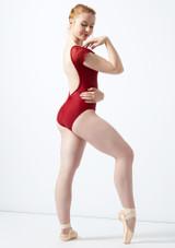 Maillot con manga de encaje Ballet Rosa Rojo trasera. [Rojo]