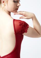 Maillot con manga de encaje Ballet Rosa Rojo trasera #2. [Rojo]