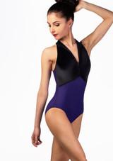 Maillot Ballet con Cuello Alto y Espalda de Nadador Ballet Rosa Azul frontal. [Azul]