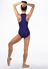 Maillot Ballet con Cuello Alto y Espalda de Nadador Ballet Rosa Azul trasera. [Azul]