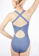Maillot con bucle en la espalda Ballet Rosa Azul trasera #2. [Azul]