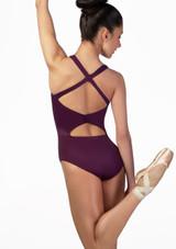 Maillot con bucle en la espalda Ballet Rosa Violeta frontal. [Violeta]