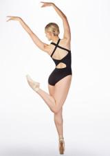 Maillot con bucle en la espalda Ballet Rosa Negro trasera. [Negro]