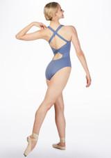 Maillot con bucle en la espalda Ballet Rosa Azul frontal. [Azul]