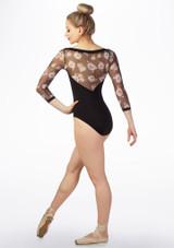 Maillot Ballet con Encaje Floral y Manga 3/4 So Danca Negro trasera. [Negro]