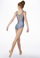 Maillot Ballet Chica Brillante y Bordado So Danca Azul trasera. [Azul]