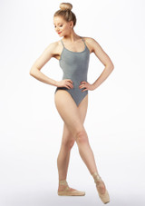 Maillot Ballet de Tirantes Cruzado So Danca Gris frontal. [Gris]