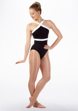Maillot Ballet con Ribete de Contraste So Danca Negro-Blanco frontal #2. [Negro-Blanco]