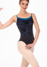 Maillot Ballet de Tirantes con Malla Floral en Contraste Grishko Azul frontal. [Azul]