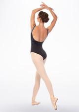 Maillot Ballet de Tirantes con Malla Floral en Contraste Grishko Azul trasera. [Azul]