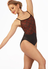 Maillot brillante Rosa Ballet Rosa Negro frontal. [Negro]