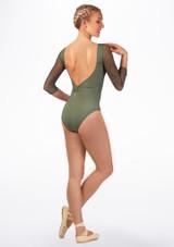 Maillot estampado con espalda descubierta Ballet Rosa Verde trasera. [Verde]
