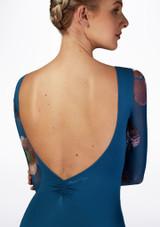 Maillot con malla floral Ballet Rosa Azul trasera #2. [Azul]