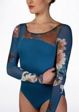 Maillot con malla floral Ballet Rosa Azul frontal #2. [Azul]