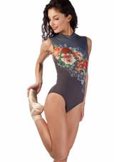 Maillot floral con cuello tortuga Ballet Rosa Gris frontal. [Gris]