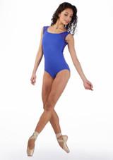 Maillot bordado con ojo de cerradura Ballet Rosa Azul frontal. [Azul]