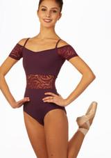 Maillot Ballet con Escote Barco Ariane So Danca Violeta frontal.