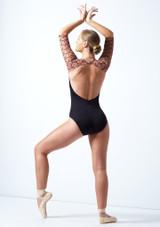Maillot Ballet con Manga Hasta el Codo y Espalda Descubierta Ballet Rosa Caramelo  Detrás-1 [Caramelo ]