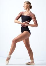 Maillot Ballet con Manga Hasta el Codo y Espalda Descubierta Ballet Rosa Caramelo  Delante-1 [Caramelo ]