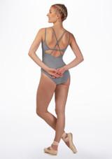 Maillot Ballet con Doble Tirante Cruzado So Danca Gris trasera. [Gris]